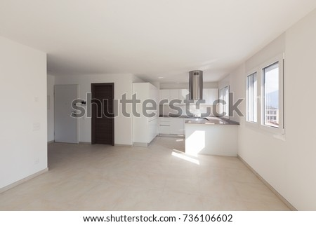 Modern apartment, empty spaces, kitchen