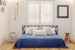 Modern apartment interior design in blue colours,  small and cozy bed room with kitchen Portuguese style