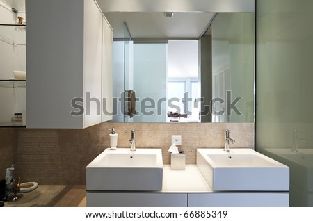modern apartment interior view, two sinks