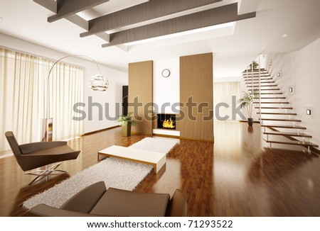 Modern apartment interior with fireplace and staircase 3d render - stock photo