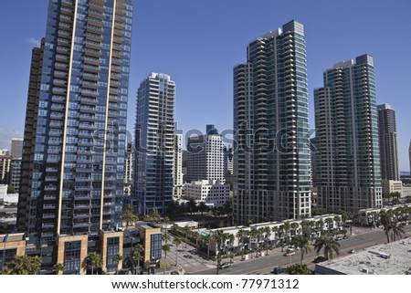 Modern apartment towers transform the skyline of scenic San Diego California.