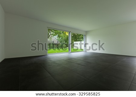 modern apartment with garden, living room and large window