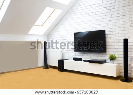 Modern apartment with home theater #637103029