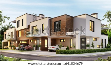 Modern apartments residential townhouses. 3d rendering Сток-фото ©