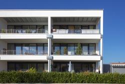 modern appartment architecture in south german bavaria autumn sunshine day