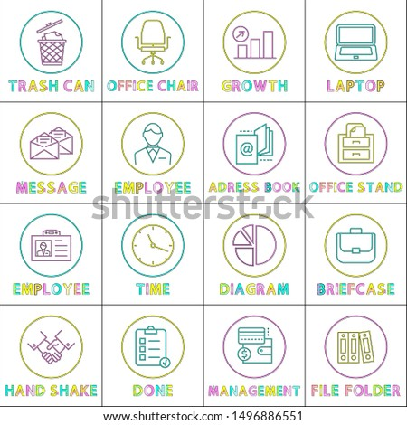 Modern application linear bright icons templates. Web round buttons outline for online applications with symbols isolated cartoon raster illustration.