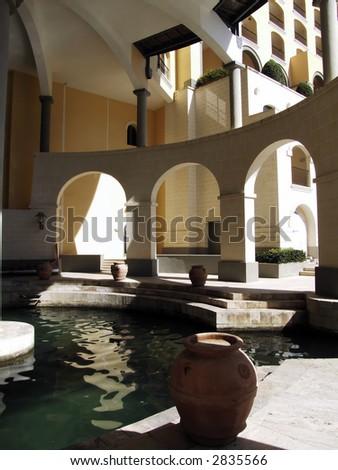 Modern architectural details within a new complex in the Mediterranean island of Malta