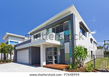 Modern architectural house front - stock photo
