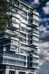 Modern architecture buildings of glass and metall