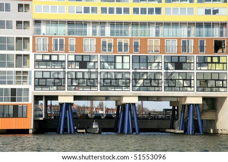 Modern architecture. Contemporary office built on water. Amsterdam, Netherlands.