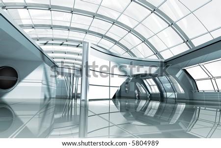 modern architecture 3d render - stock photo