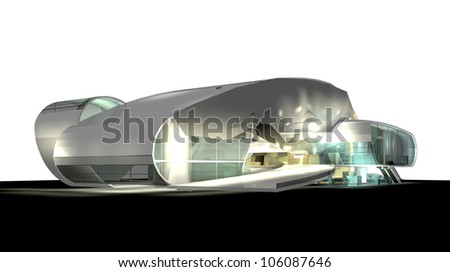 modern architecture 3d render isolated on white