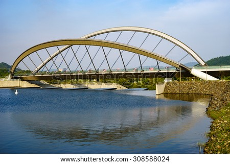 Modern architecture design of a pedestrian bridge in Putrajaya, Malaysia