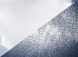 Modern architecture details Steel facade Dot pattern abstract