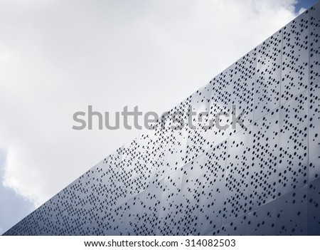 Modern architecture details Steel facade Dot pattern abstract #314082503