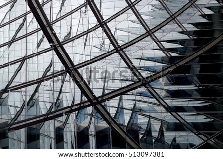 Modern architecture. Digitally composed photo of hi-tech building fragment with reflections. Realistic contemporary architectural object with scaly structure. #513097381
