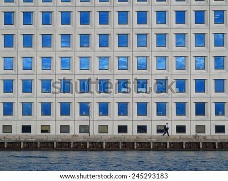 Modern architecture. Futuristic business corporate glass building, city background