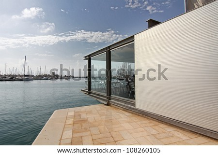 modern architecture in a building surrounded by water