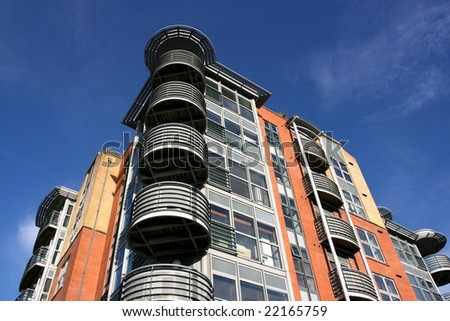 Modern architecture in Bristol, South West England. Apartment building.