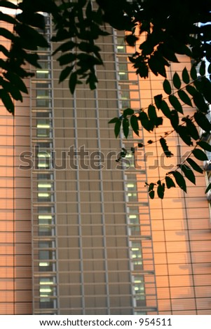 modern architecture in brussels, EC building shot at night, schumann building - stock photo