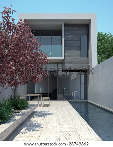 Modern architecture in sunny setting (3D render)