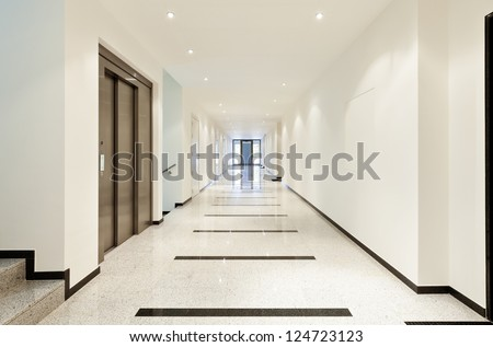 modern architecture, interior, view of the long corridor