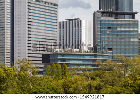 Modern architecture. Modern steel and glass skyscrapers in Osaka.