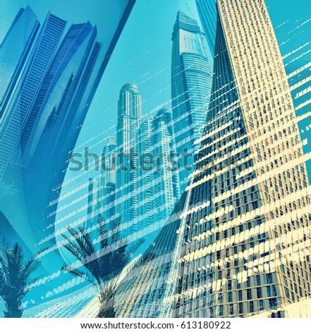 Modern architecture of Dubai City, UAE. Skyscrapers of Dubai digital art collage in blue marine color scheme