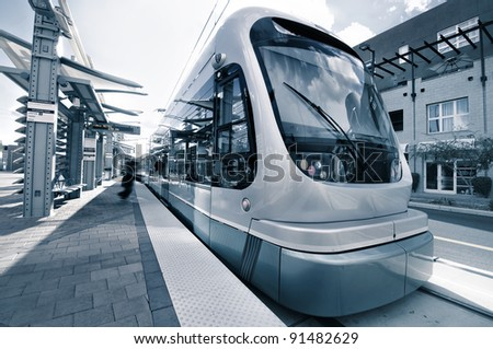Modern Architecture of light rail station with train metro
