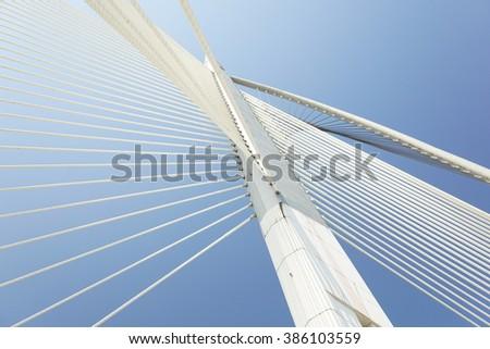 Modern architecture of Seri Wawasan Bridge at Putrajaya, Malaysia. #386103559