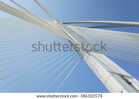 Modern architecture of Seri Wawasan Bridge at Putrajaya, Malaysia. #386103574