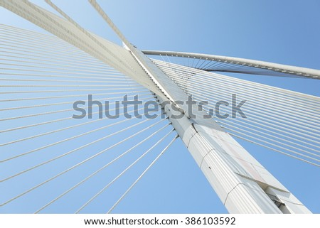 Modern architecture of Seri Wawasan Bridge at Putrajaya, Malaysia. #386103592