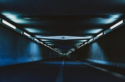 modern architecture of tunnel in the city with dark futuristic lighting