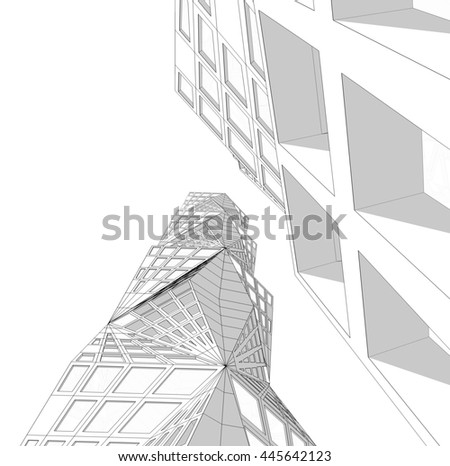 Modern Architecture Skyscrapers 3d Render