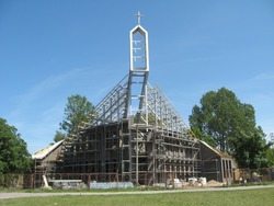 Modern architecture style church - building under construction