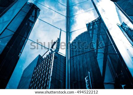 Modern architecture tone in blue tone