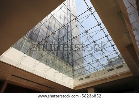 Modern architecture, transparent glass ceiling