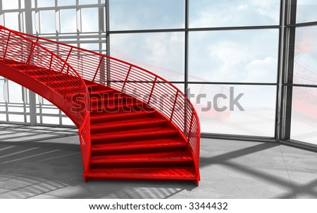 modern architecture with red stairs. 3d render