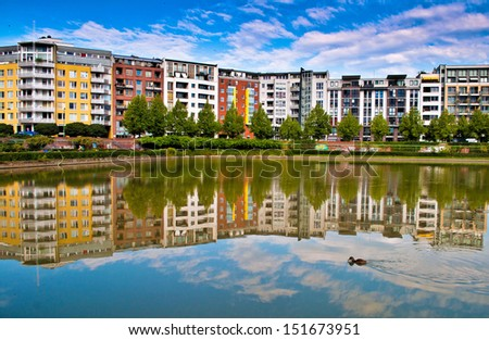 Modern architecture with reflection in as lake in Berlin in Germany