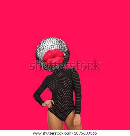 Modern art collage. A womans body with disco ball and red lips head