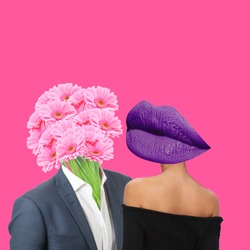Modern art collage. Concept Valentine's day, Man with flowers as a head and lips lady.