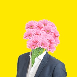 Modern art collage. Concept Valentine's day, Man with flowers as a head on yellow background.