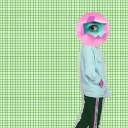 Modern art collage. Female alien model with the big eye instead  head on cell background.