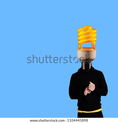 Modern art collage. Man wearing hoodie with lamp head