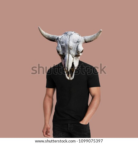 Modern art collage.  Men's body with skull head #1099075397