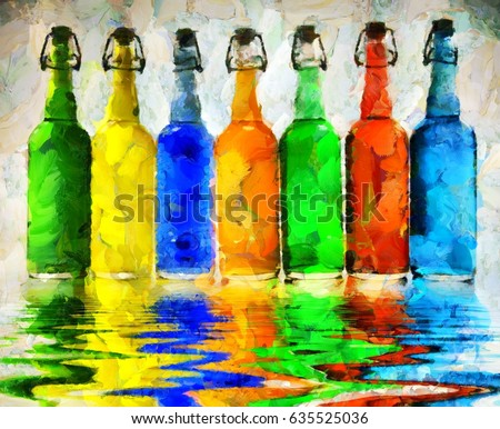 Modern art. Colorful bottles reflects in the water.  3D rendering