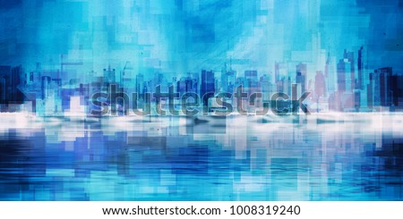 Modern Art. Manhattan, New York panorama in vivid blue colors. 3D rendering