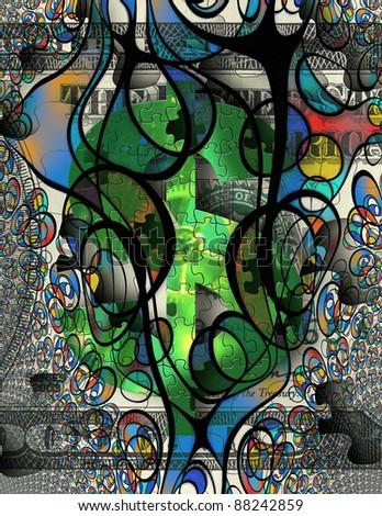 Modern Art Money Abstract