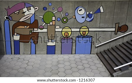 Modern Art on the wall, Detroit MI - stock photo