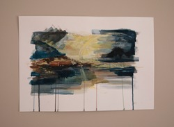 Modern art. Romantic painting hanging in the wall. Beautiful cold brushwork depicting a coastal landscape at sunrise.
